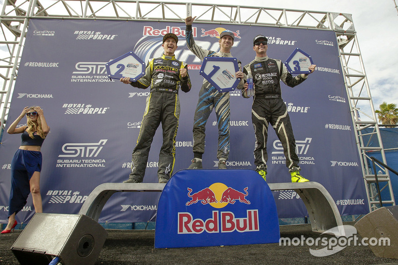 Podium: winner Scott Speed and second place Tanner Foust, third place Nelson Piquet Jr.