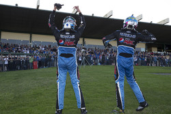 Mark Winterbottom and Steve Owen, Prodrive Racing Australia Ford celebrate their victory