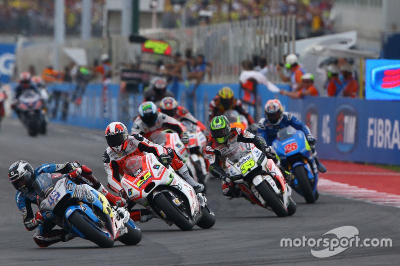 Scott Redding, Marc VDS Racing Honda and Yonny Hernandez, Pramac Racing Ducati and Cal Crutchlow, Team LCR Honda