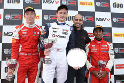 Podium race 2: winner Will Palmer, HHC Motorsport, second place Jack Bartholomew, Lanan Racing third place Ameya Vaidyanathan, Hillspeed