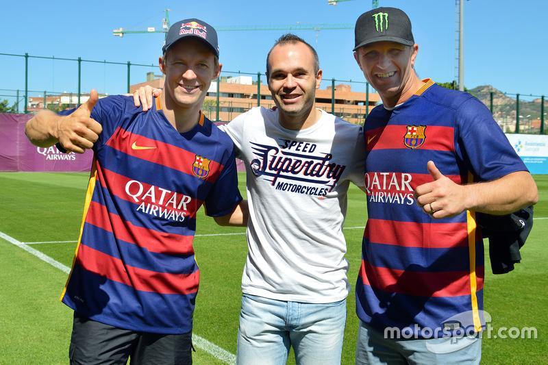 Маттіас Екстрем, EKS RX Audi S1 та Петтер Сольберг, SDRX Citroën DS3 RX з FC Barcelona captain Andres Iniesta