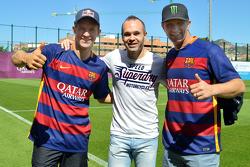 Mattias Ekström, EKS RX Audi S1 y Petter Solberg, SDRX Citroën DS3 RXcon el capitán del FC Barcelona Andres Iniesta