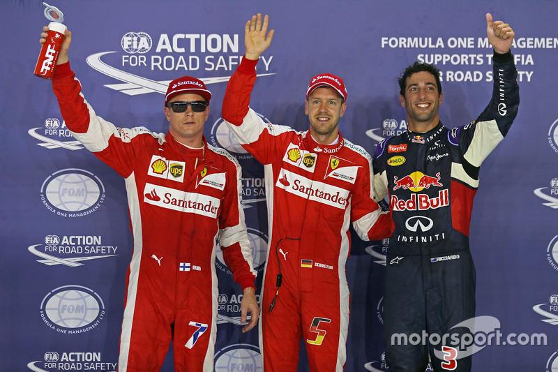 Polesitter Sebastian Vettel, Ferrari, 2. Daniel Ricciardo, Red Bull Racing, 3. Kimi Räikkönen, Ferra