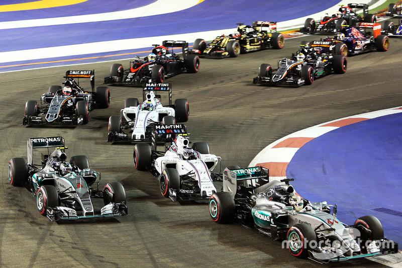 Lewis Hamilton, Mercedes AMG F1 W06, Nico Rosberg, Mercedes AMG F1 W06 and Valtteri Bottas, Williams