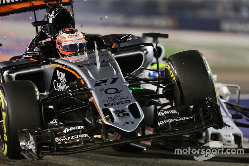 Ніко Хюлкенберг, Sahara Force India F1 VJM08 та Феліпе Масса, Williams FW37 зіткнулися під час гонки