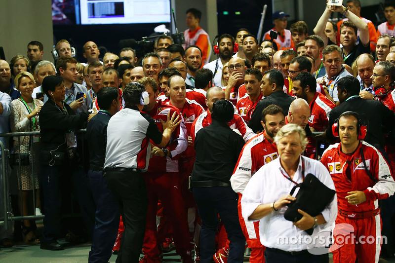 Incident involving Ferrari team and security at the podium parc ferme