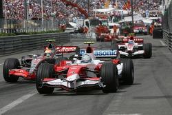 Jarno Trulli, Toyota Racing, TF107 and Lewis Hamilton, McLaren Mercedes, MP4-22