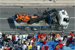 Coche después del accidente de Adrian Sutil, Spyker F1 Team
