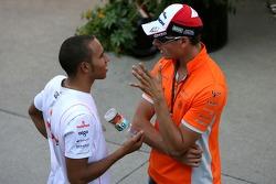 Lewis Hamilton, McLaren Mercedes and Adrian Sutil, Spyker F1 Team