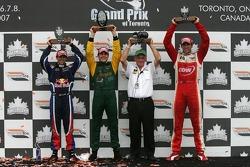 Podium: race winner Will Power with Neel Jani, Justin Wilson and Derrick Walker
