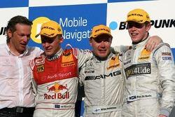 Podium: Mika Hakkinen, Team HWA AMG Mercedes, Mattias Ekström, Audi Sport Team Abt Sportsline, Paul di Resta, Persson Motorsport AMG Mercedes, Hans-Jürgen Mattheis, Team Manager HWA
