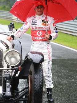 Lewis Hamilton, McLaren Mercedes with a historic Mercedes S from 1927, in the rain