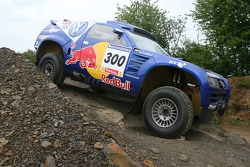 Volkswagen Dakar car on on display at the outdoor track at a Red Bull Event
