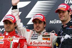 Podium: Sieger Fernando Alonso, 2. Felipe Massa, 3. Mark Webber