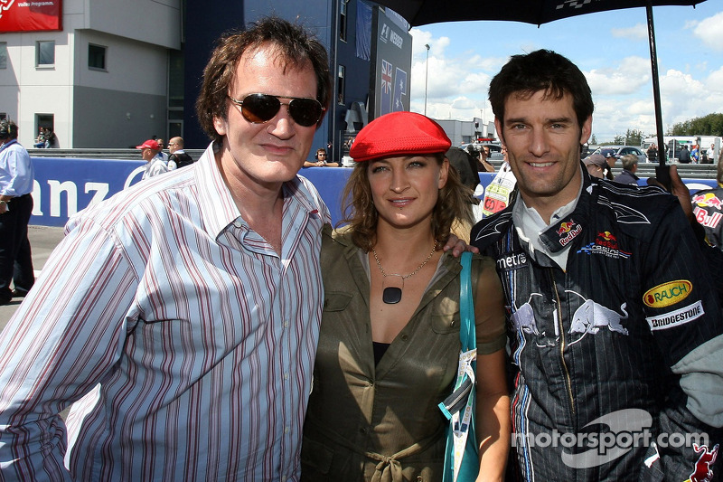 Quentin Tarantino, Regisseur; Zoe Bell, Schauspielerin; Mark Webber, Red Bull Racing