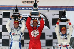 Podium: race winner Raphael Matos with Jonathan Bomarito and Franck Perera