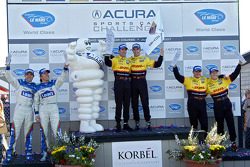LMP2 Podium: class and overall winners Romain Dumas and Timo Bernhard, second place Sascha Maassen, Ryan Briscoe, third place Adrian Fernandez and Luis Diaz