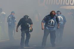Crews in the smoke