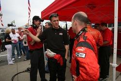 Pole winner Jon Fogarty celebrates with Alex Gurney
