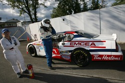 Jim Lapcevich stopped on the track