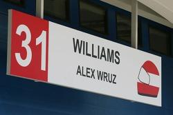 Pit garage sign of Alexander Wurz, Williams F1 Team, spelt incorrectly