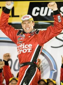 Victory lane: race winner Carl Edwards celebrates