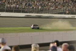 Race winner Jimmie Johnson does a burnout