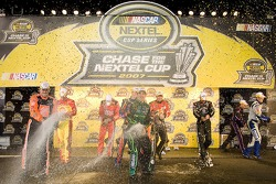 The Chasers celebrate at Richmond International Raceway after the running of the NNCS Rock and Roll 400