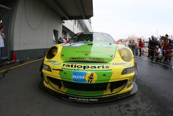 The winning Manthey Racing Porsche 911 GT3 RSR in parc fermé