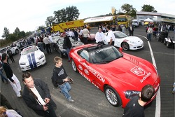 Dodge cars ready for the drivers parade