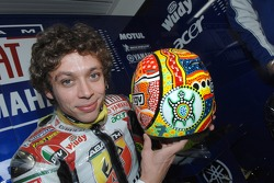Valentino Rossi shows his special helmet