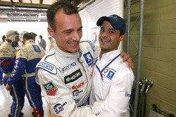 Pole winner Stéphane Sarrazin celebrates with Pedro Lamy