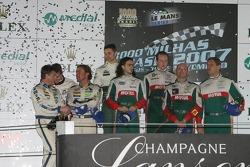 LMGT1 podium: class winners Gregor Fisken, Steve Zacchia, Roland Berville and Fernando Rees, second place Oliver Gavin, Patrice Goueslard and Olivier Beretta