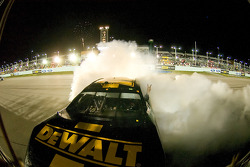 Race winner Matt Kenseth celebrates with a burnout