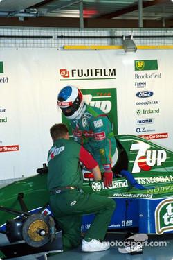 Schumacher in the Jordan garage during his 1991 debut