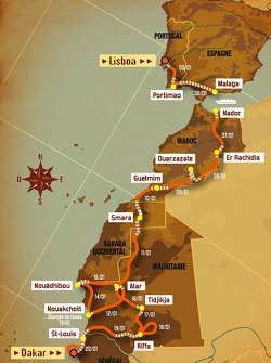 Overall geographical map: 15 stages, from 2008-01-05 to 2008-01-20, Lisboa to Dakar