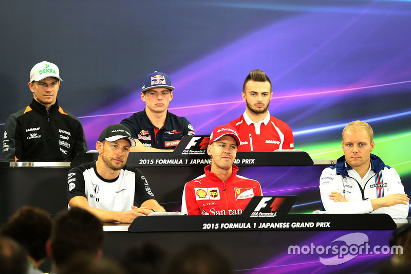 Press conference, Jenson Button, McLaren, Sebastian Vettel, Scuderia Ferrari, Valtteri Bottas, Williams F1 Team, Nico Hulkenberg, Sahara Force India, Max Verstappen, Scuderia Toro Rosso and Will Stevens, Manor F1 Team