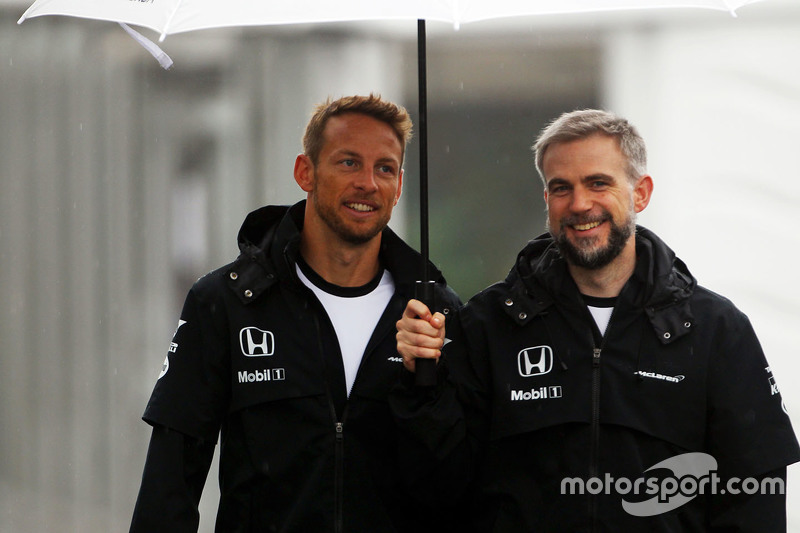 Jenson Button, McLaren with Steve Cooper, McLaren Press Officer