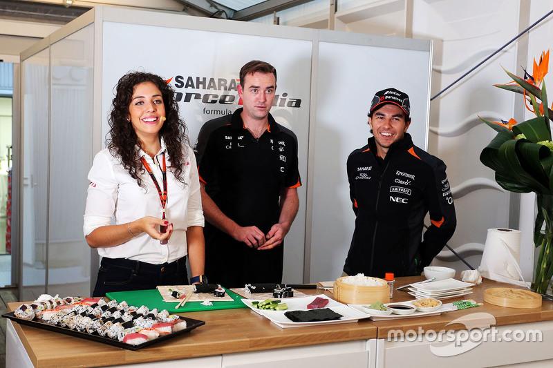 Sergio Perez, Sahara Force India F1 prepares sushi