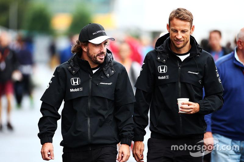 Fernando Alonso, McLaren with team mate Jenson Button, McLaren