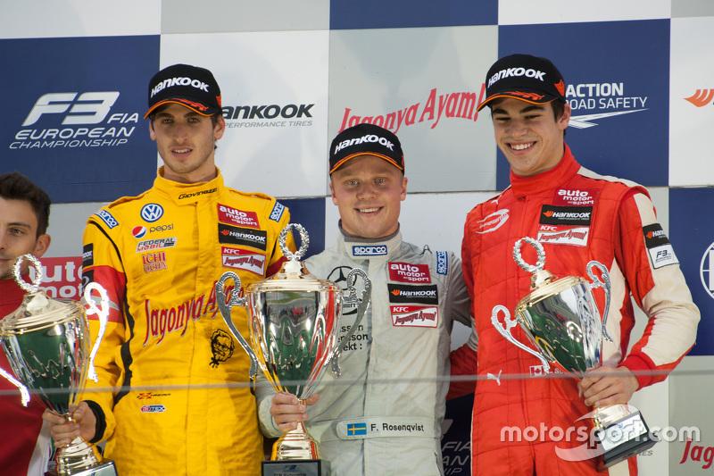 Podium: winner Felix Rosenqvist, Prema Powerteam, second place Antonio Giovinazzi, Jagonya Ayam with