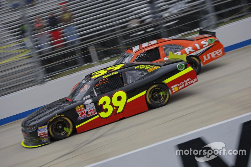 Ryan Sieg, RSS Racing Chevrolet and Daniel Suarez, Joe Gibbs Racing Toyota