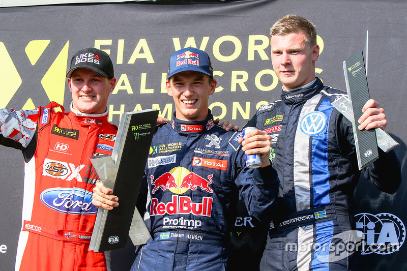 Podium: Winner Timmy Hansen, Team Peugeot Hansen, second place Andreas Bakkerud, Olsbergs MSE, third