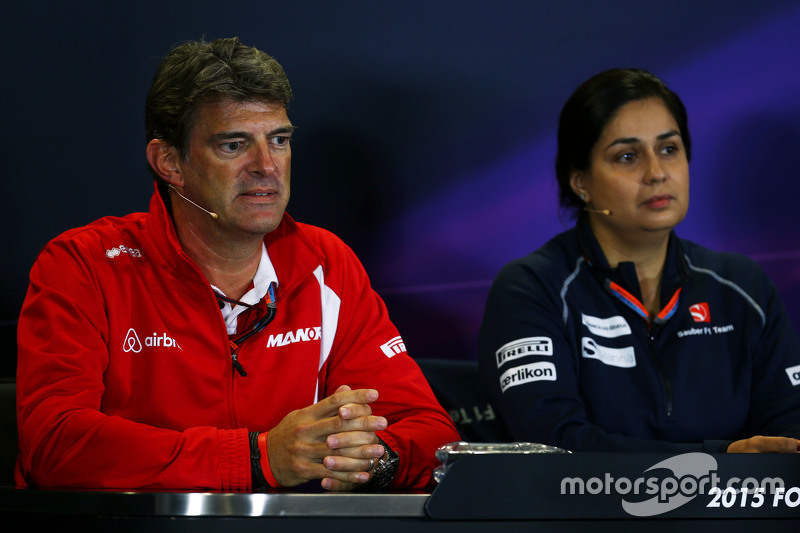 (L to R): Graeme Lowdon, Manor F1 Team Chief Executive Officer and nka in the FIA Press Conference
