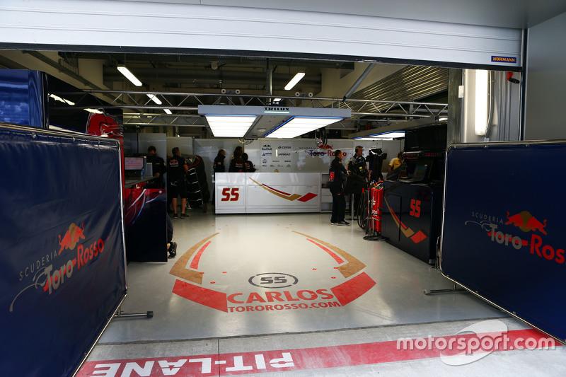 The Pit Garage Of Carlos Sainz Jr Scuderia Toro Rosso At