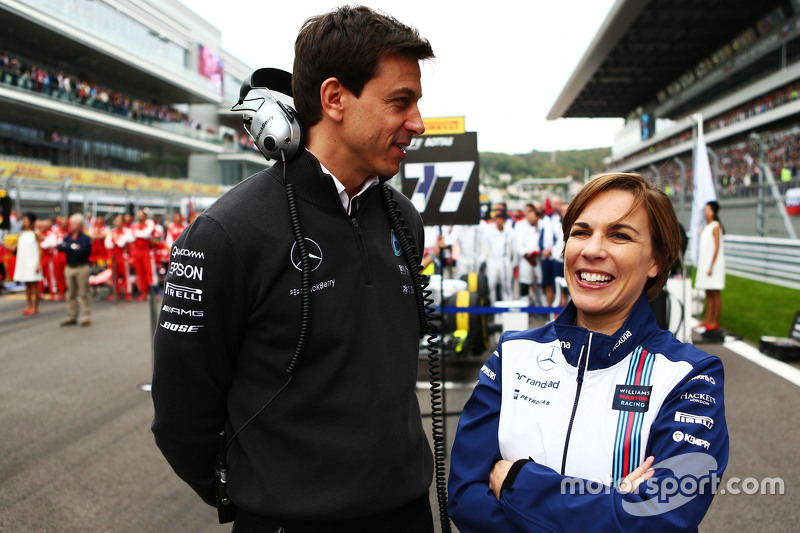 (L to R): Toto Wolff, Mercedes AMG F1 Shareholder and Executive Director with Claire Williams, Williams Deputy Team Principal on the grid