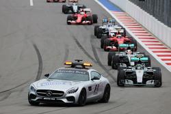 Nico Rosberg, Mercedes AMG F1 W06 leads behind the FIA Safety Car