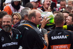 Sergio Perez, Sahara Force India F1 celebrates his third position with the team in parc ferme