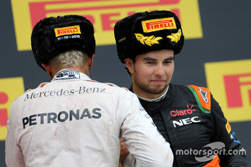 Lewis Hamilton, Mercedes AMG F1 Team and Sergio Perez, Sahara Force India