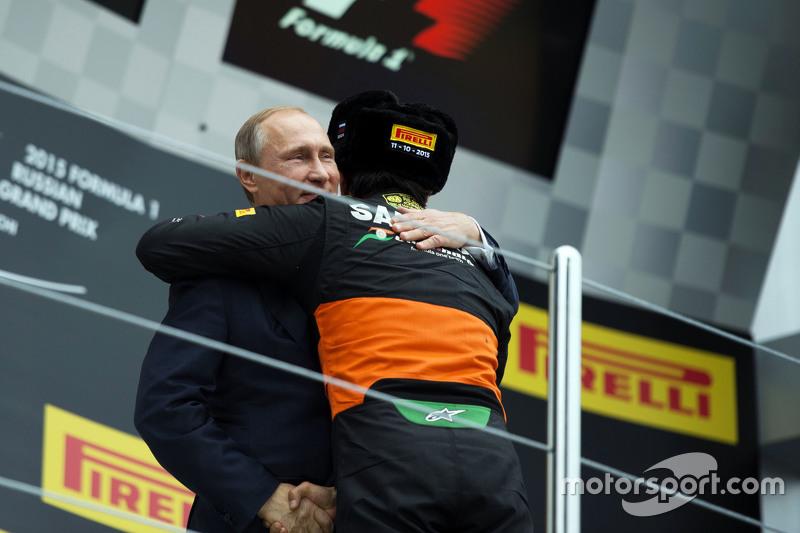 Sergio Perez, Sahara Force India F1 celebrates his third position on the podium with Vladimir Putin, Russian Federation President